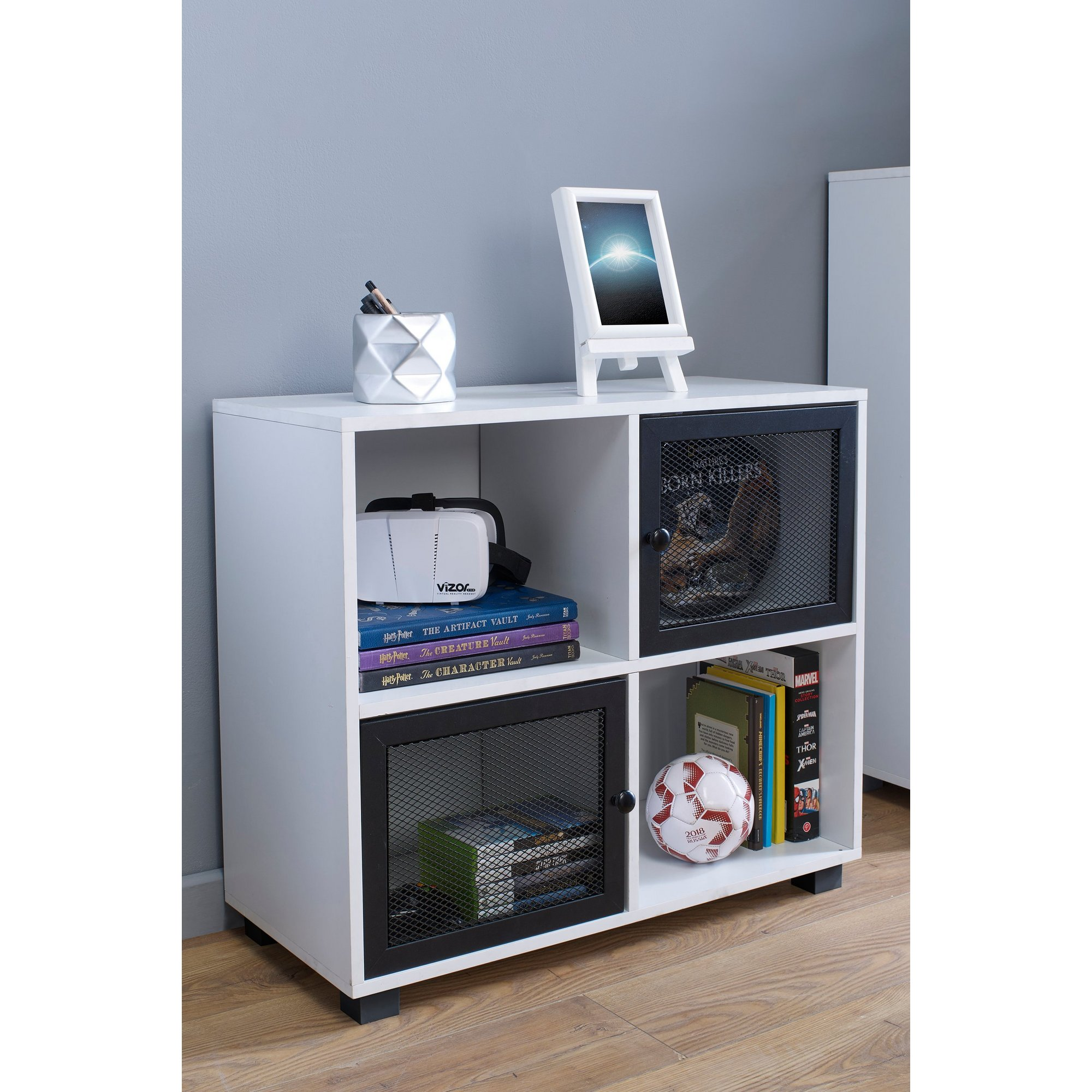 Image of 4 Cube Cabinet with 2 Mesh Doors