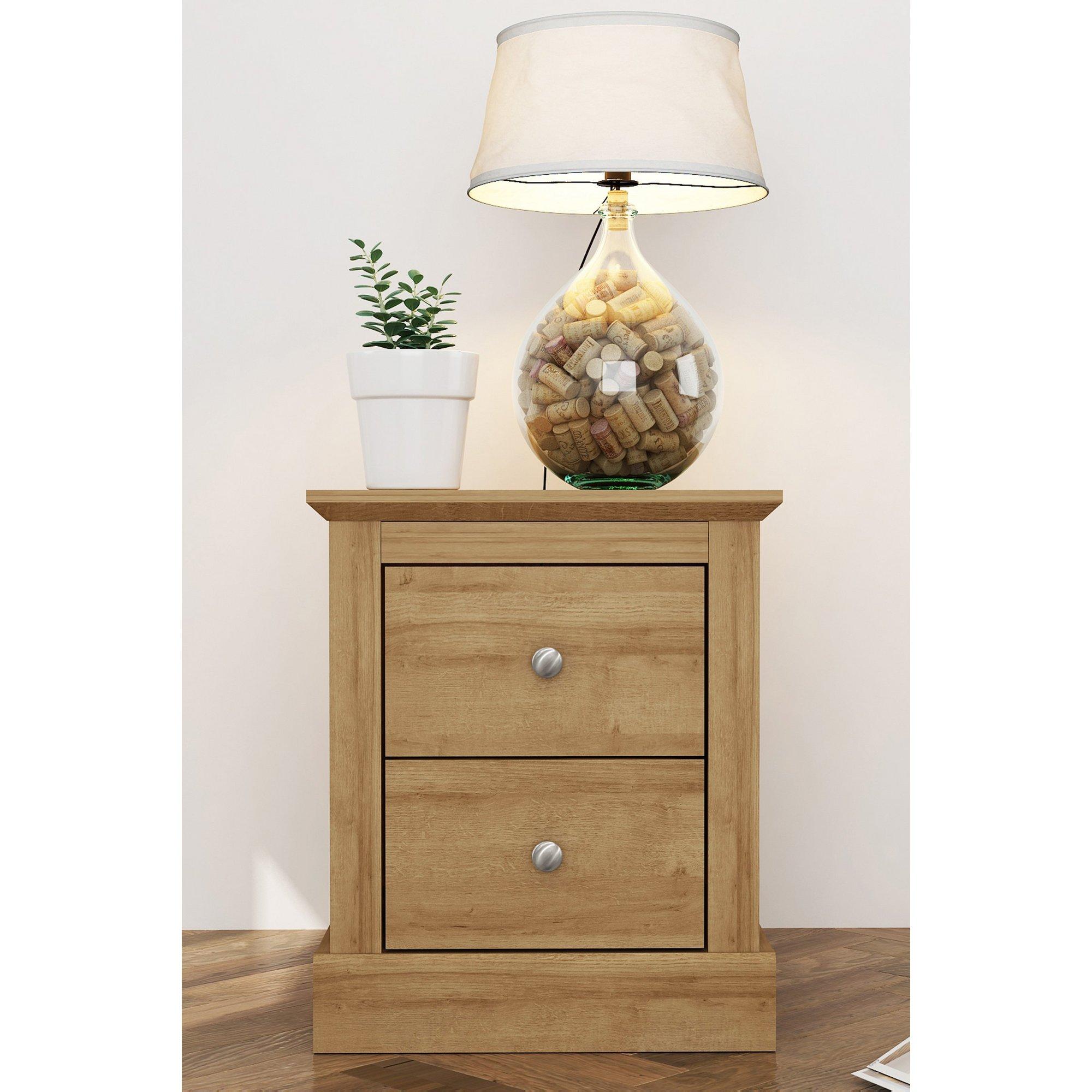 Image of Devon 2 Drawer Bedside Cabinet