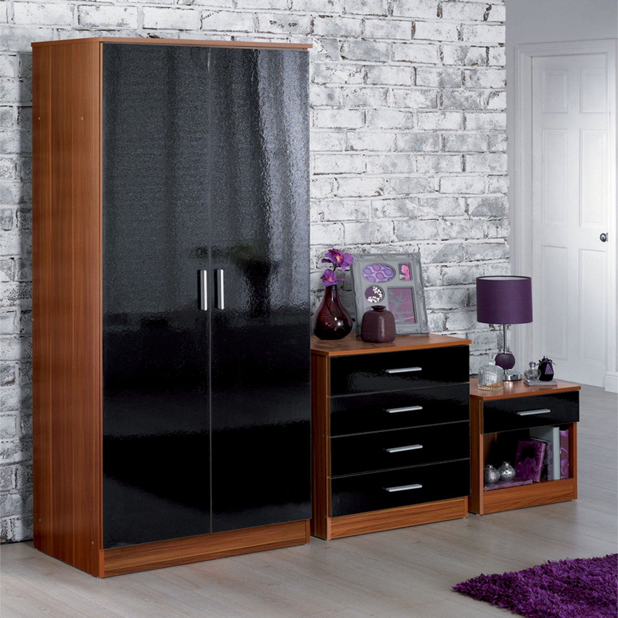 Image of Carleton 3-Piece High Gloss Bedroom Set