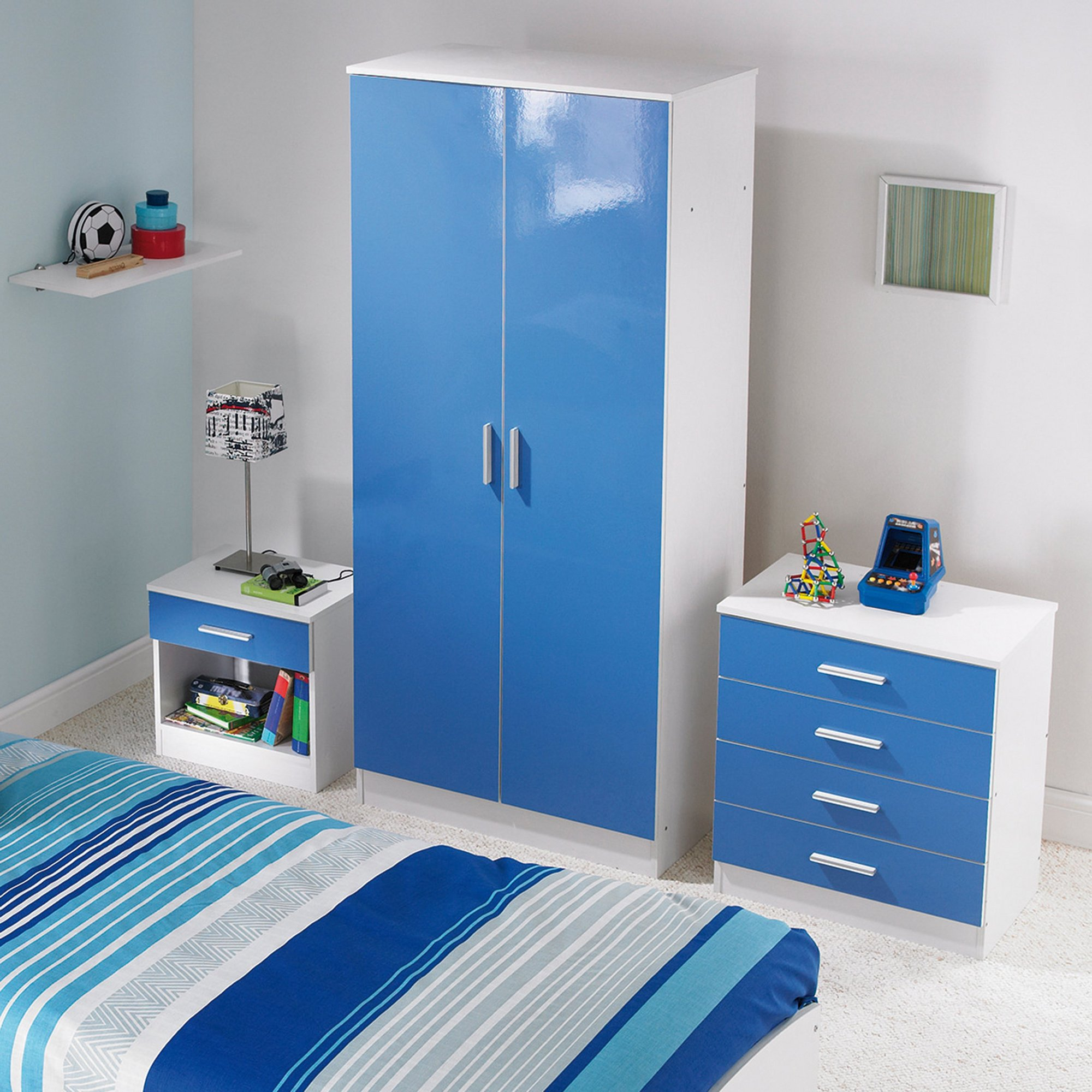 Image of Carleton 3-Piece High Gloss Kids Bedroom Set
