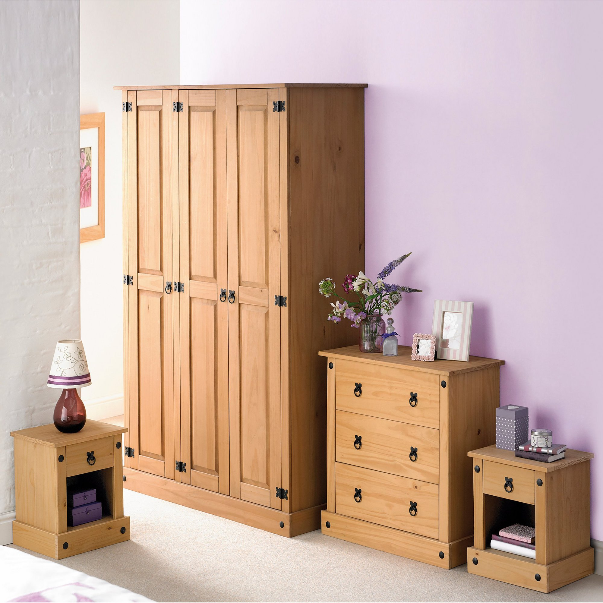 Image of 4-Piece Mexican Solid Pine Bedroom Set