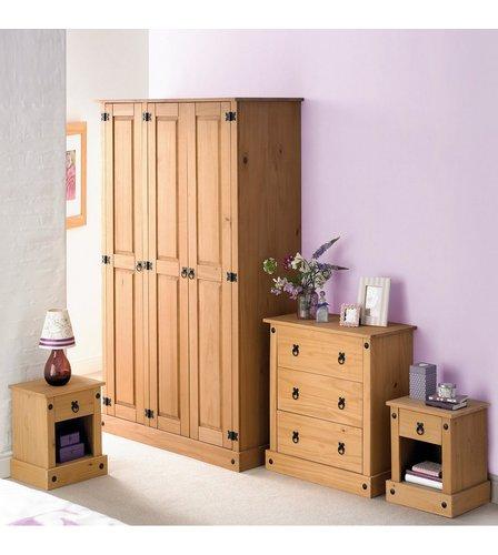 4 piece mexican solid pine bedroom set studio for Mexican pine bedroom furniture