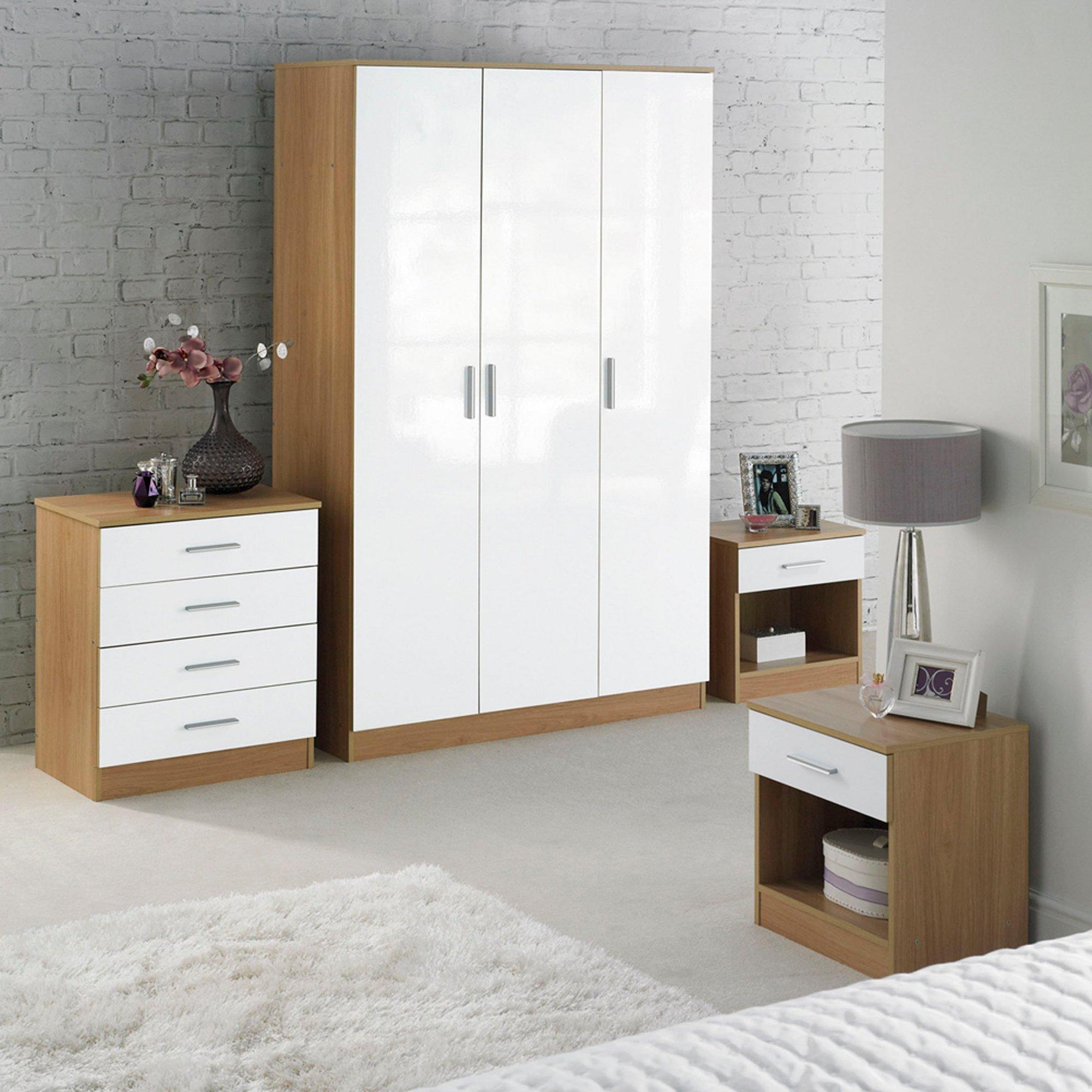 Image of Carleton 4-Piece High-Gloss Bedroom Set