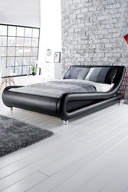 Faux Leather Curved Bed Without LED Light Strip - Without Mattress