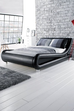 Faux Leather Curved Bed Without LED Light Strip - With Mattress