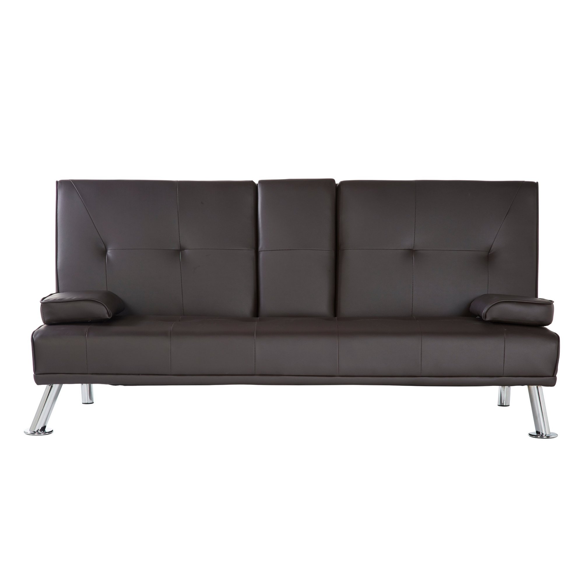 Image of Sofa Bed with Cup Holder Armrest
