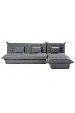Corner Sofa With Storage and Sleep Solution - Grey Fabric
