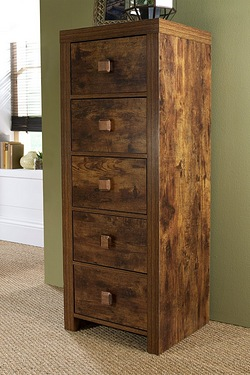 Mango Wood-Effect Tall Cabinet