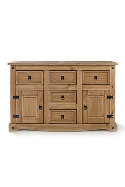 Mexican Pine 2 Door 5 Drawer Sideboard