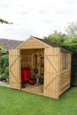 Forest Overlap Pressure Treated Apex Shed - Double Door