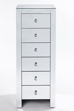 Mirrored 6 Drawer Tall Boy