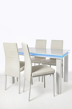 Large High-Gloss LED Dining Set - 4 Chairs