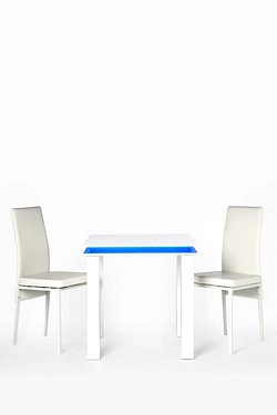 Small High-Gloss LED Dining Set - 2 Chairs