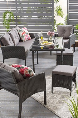 Palermo 7 Seat Lounge Rattan-Effect Dining Set