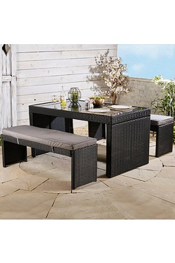 Wentworth Rattan-Effect Dining Set With Benches