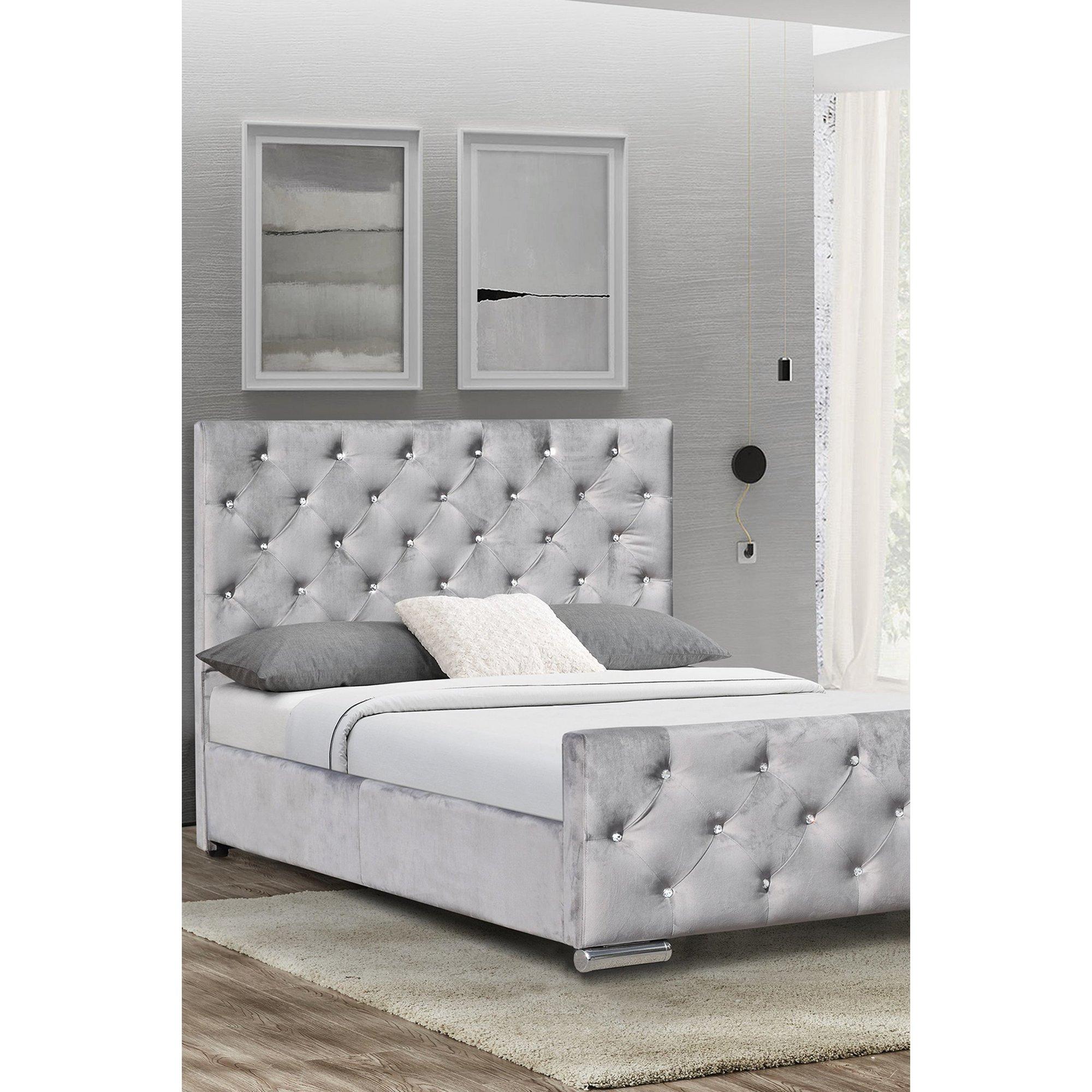 Image of Arabella Grey Velvet Bed Frame