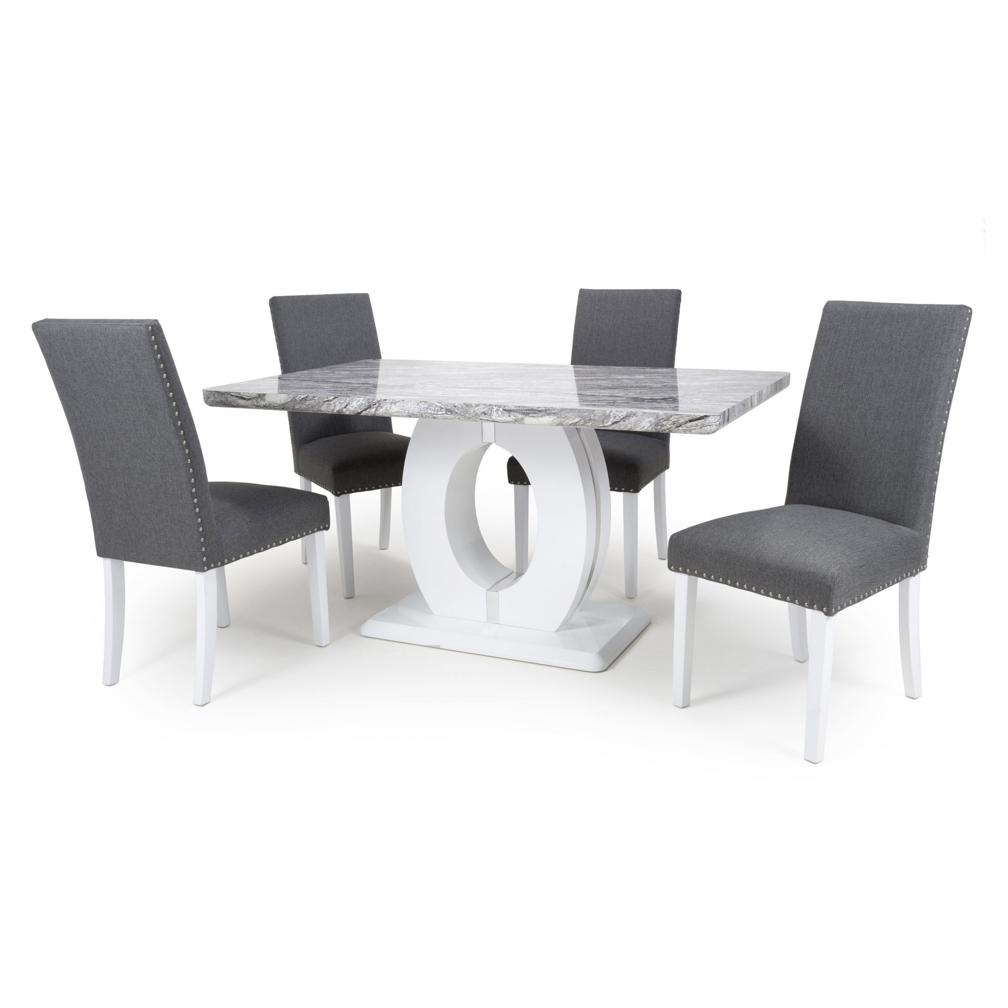 Image of Grey Marble Effect 5 Piece Medium Dining Set with Randall Chairs