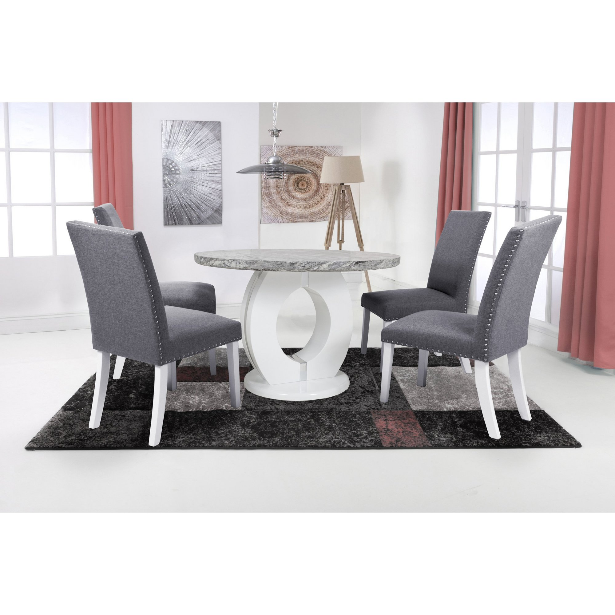 Image of Grey Marble Effect 5 Piece Round Dining Set with Randall Chairs