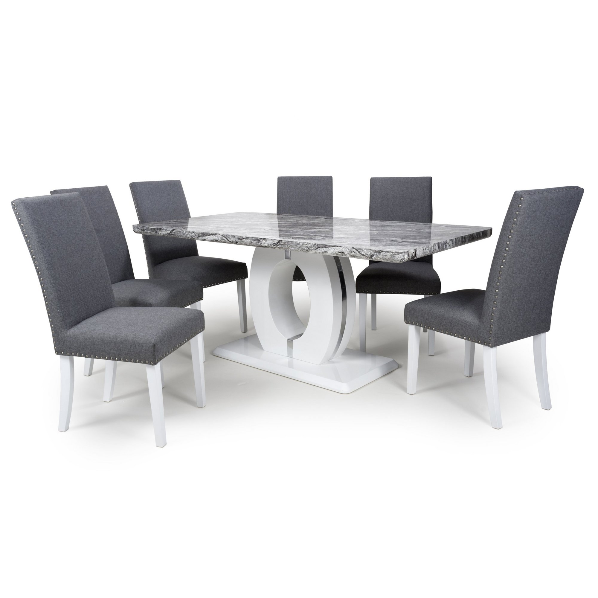Image of Grey Marble Effect 5 Piece Large Dining Set with Randall Chairs