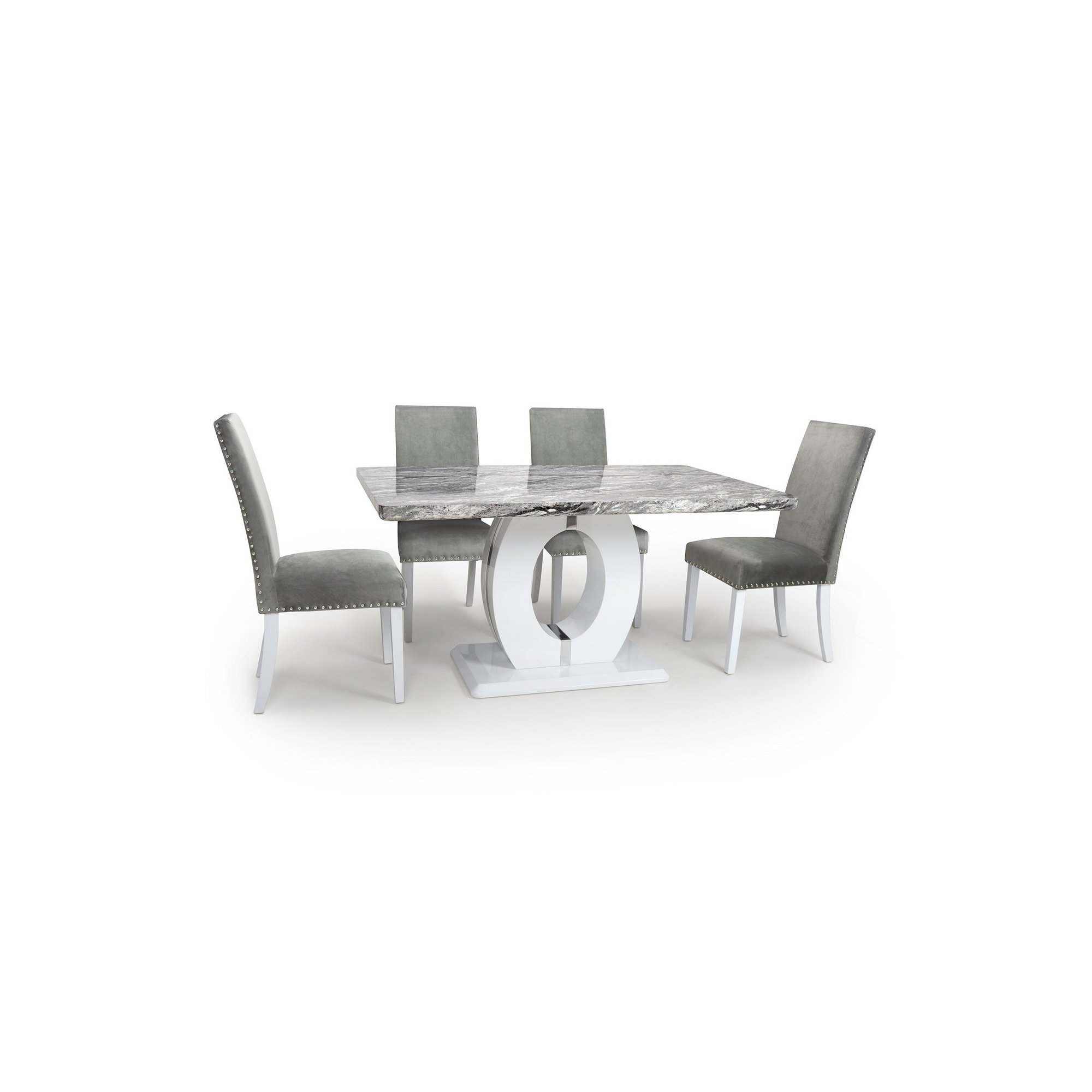 Image of Grey Marble Effect 5 Piece Dining Set with Grey Brushed Velvet Ra...