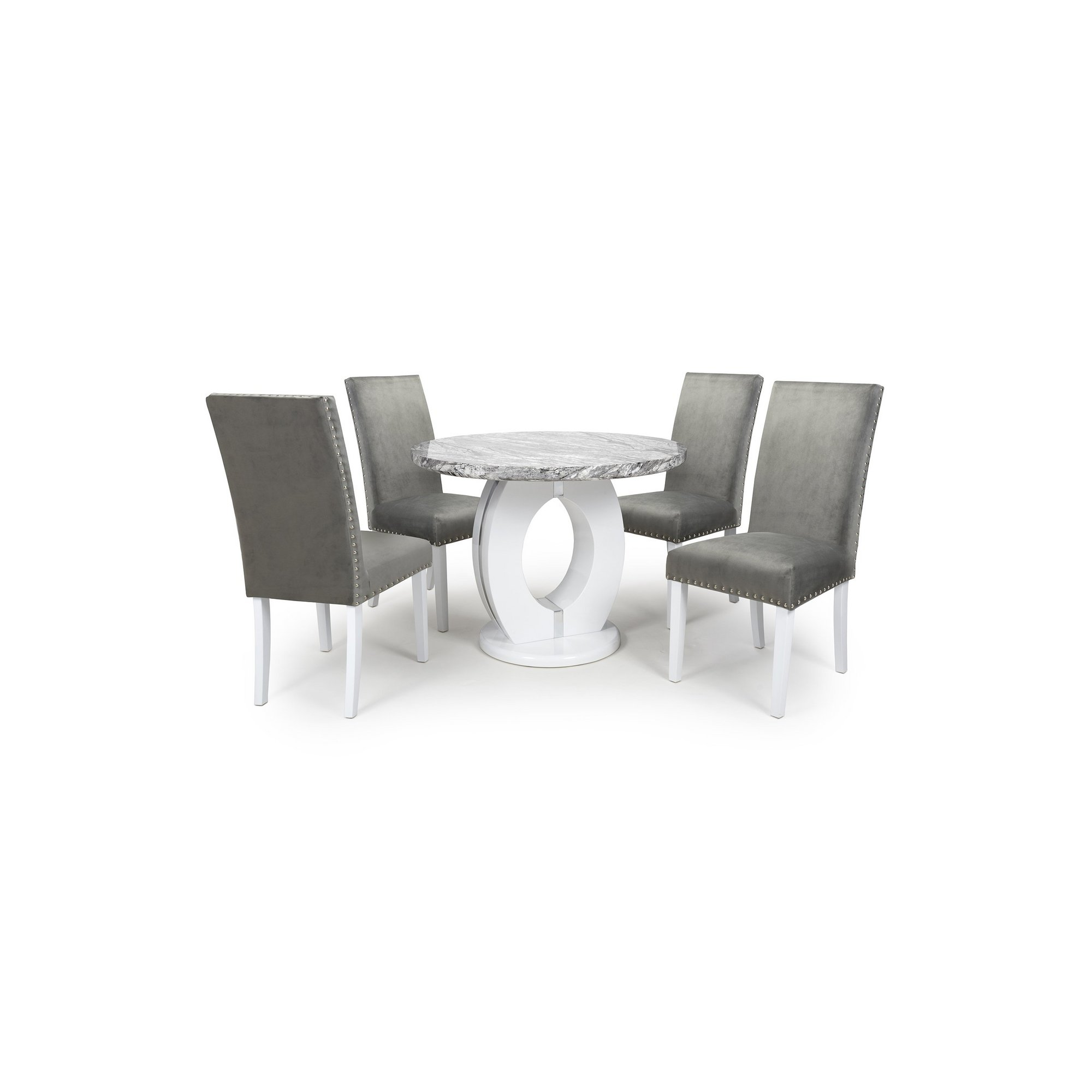 Image of Grey Marble Effect 5 Piece Round Dining Set with Grey Brushed Vel...
