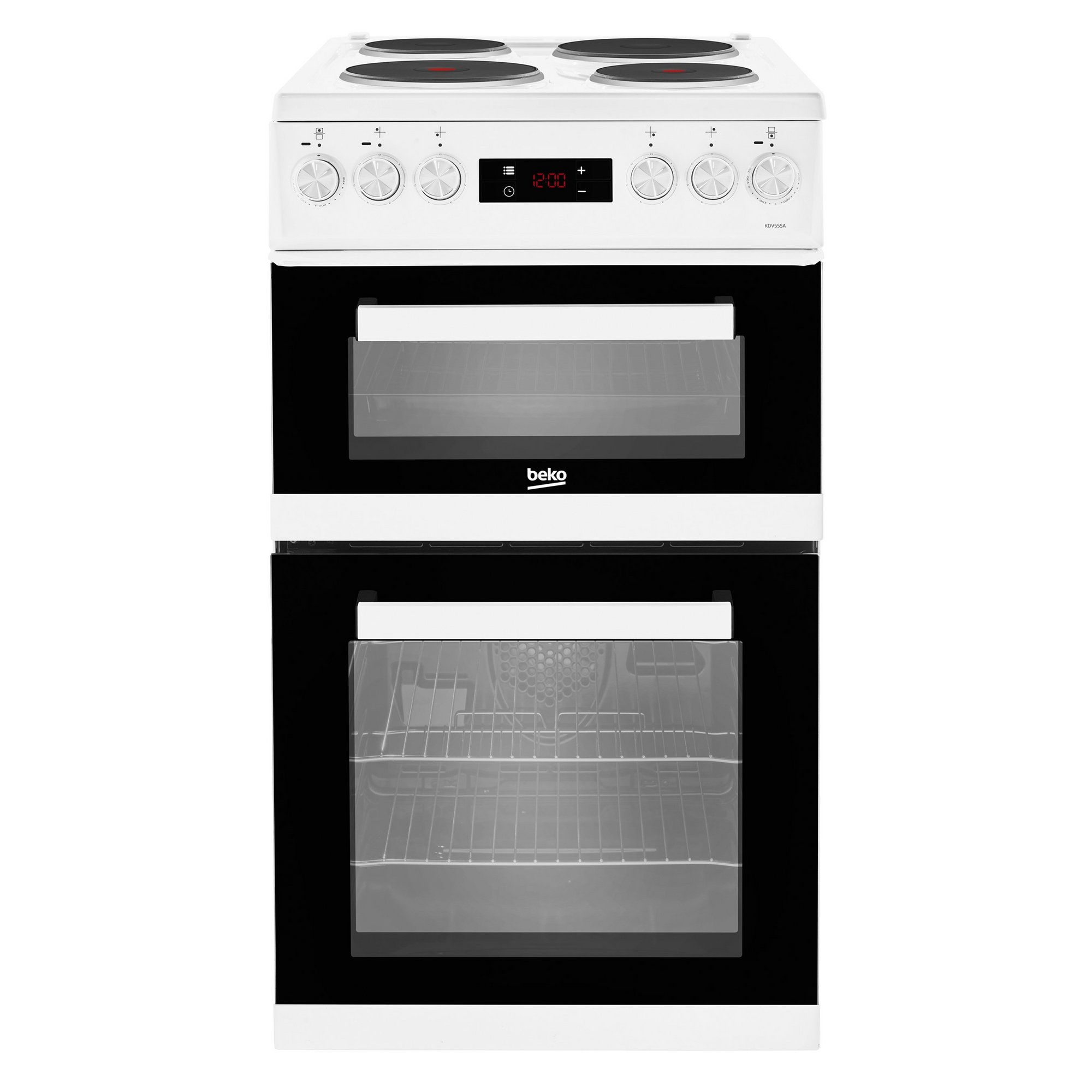 Image of Beko 50cm Double Oven Electric Cooker with Solid Plates