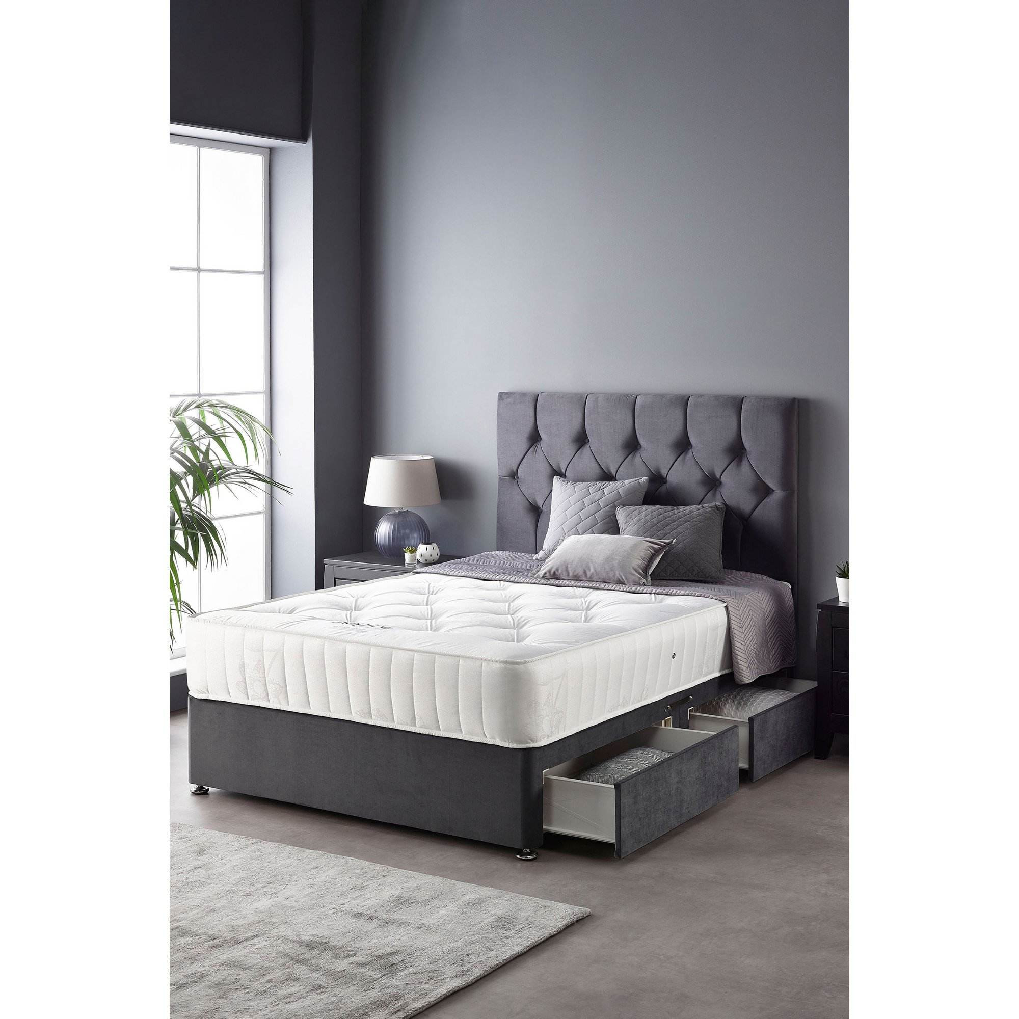 Image of Catherine Lansfield Boutique Ortho Pocket 2 Drawer Divan Bed