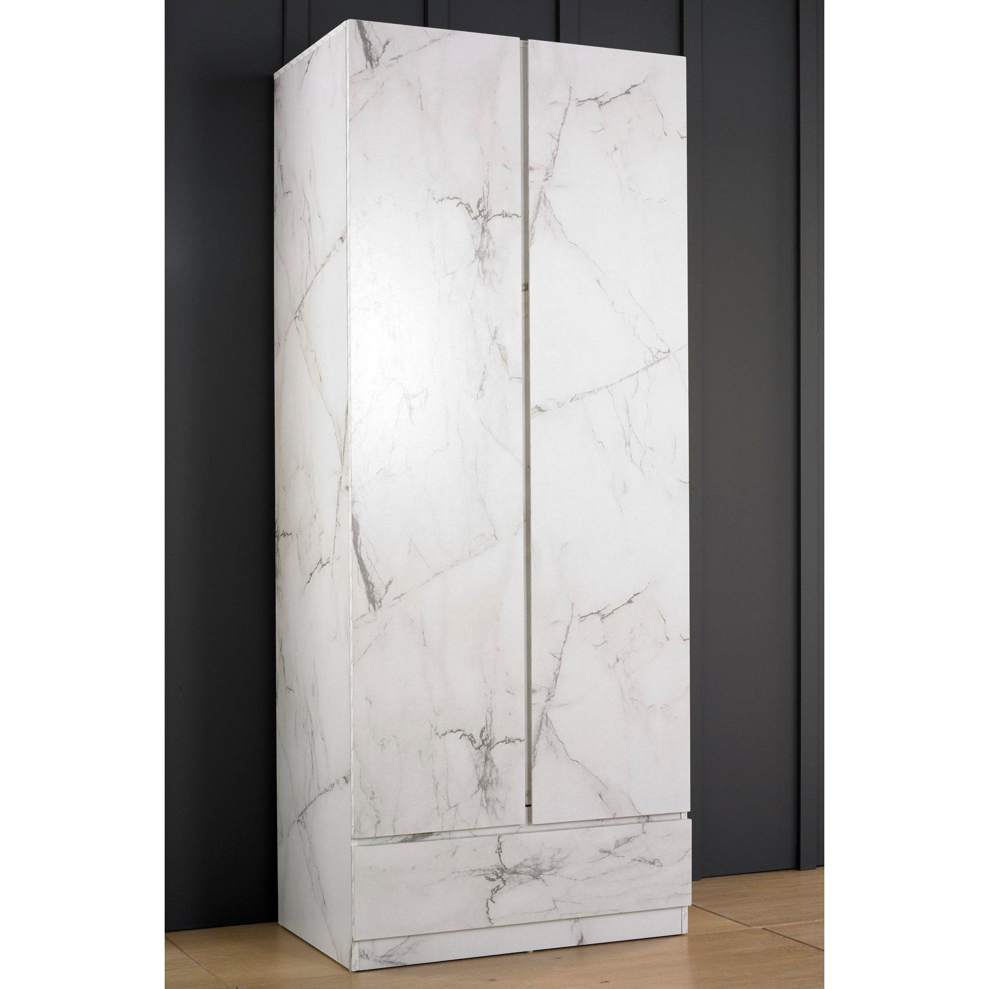 Image of Helena Marble-Effect 2 Door Wardrobe