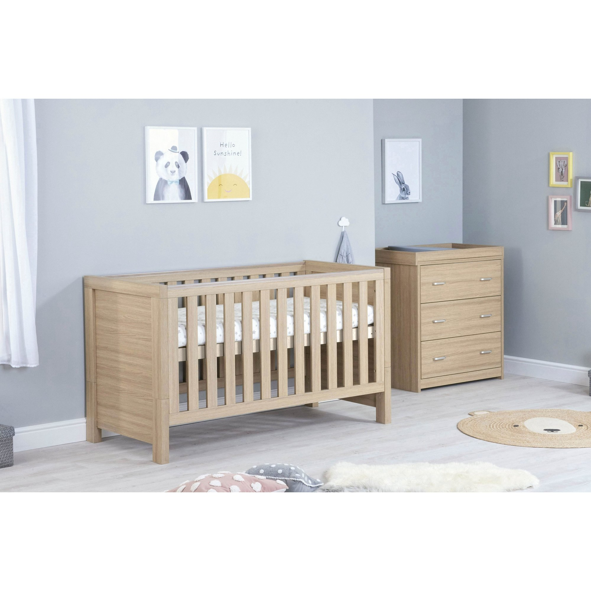 Image of 2 Piece Coat Bed and Chest Luno Oak Room Set
