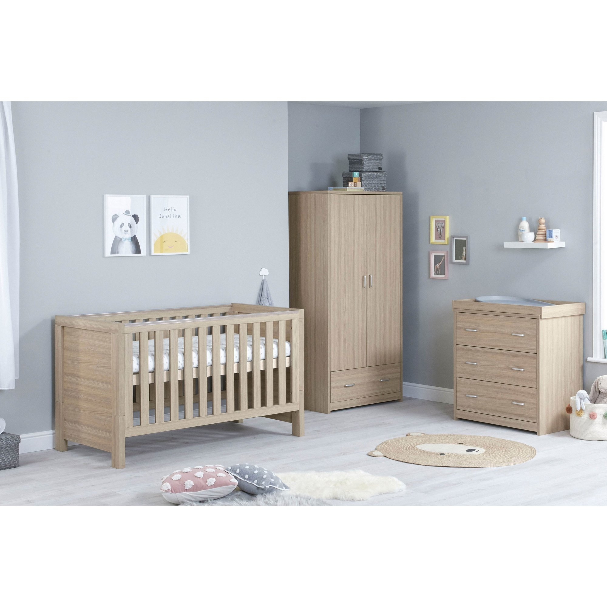Image of 3 Piece Luno Oak Room Cot Bed Chest and Wardrobe