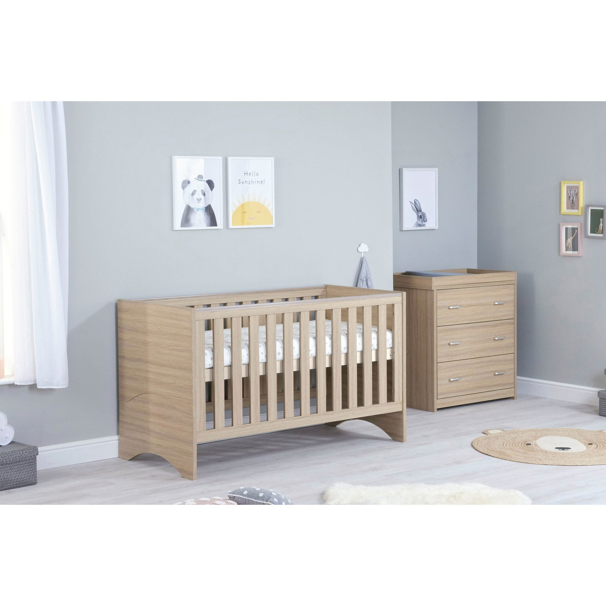 Image of 2 Piece Veni Oak Cot Bed and Chest Room Set