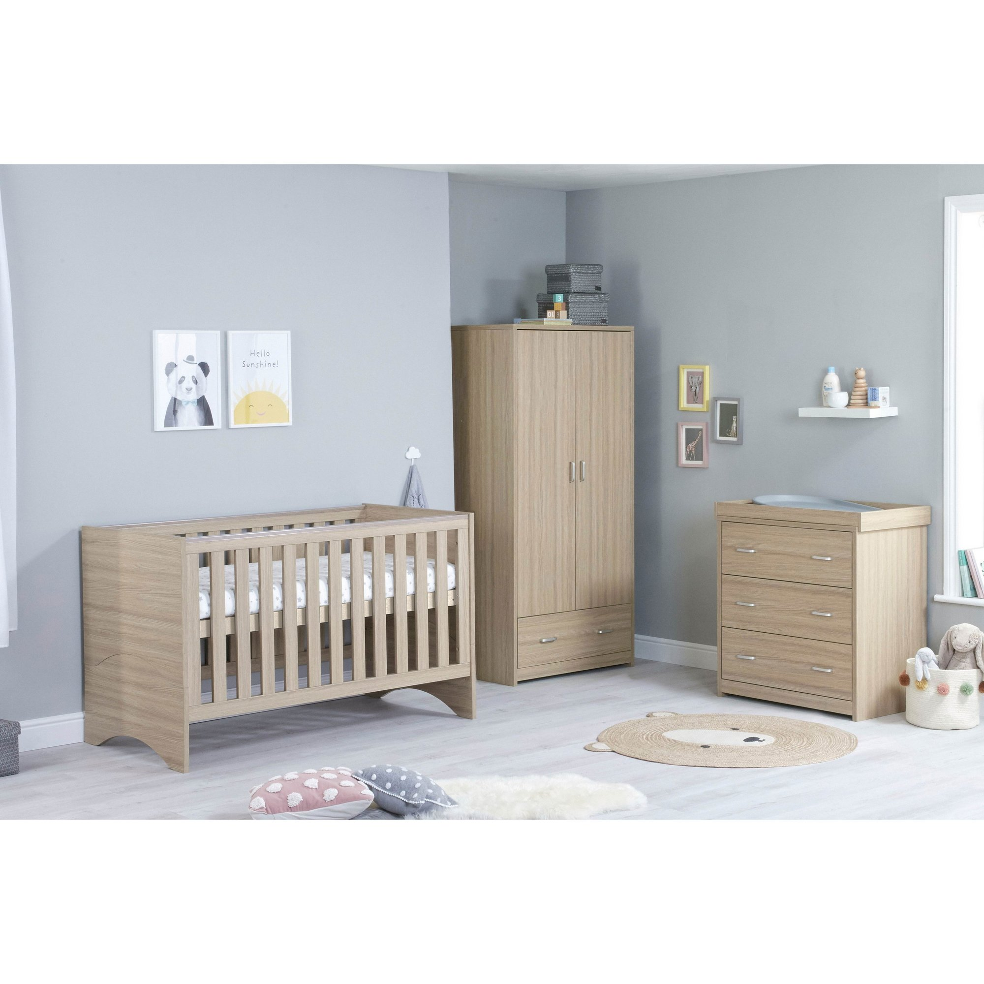 Image of 3 Piece Veni Oak Cot Bed Chest and Wardrobe Room Set