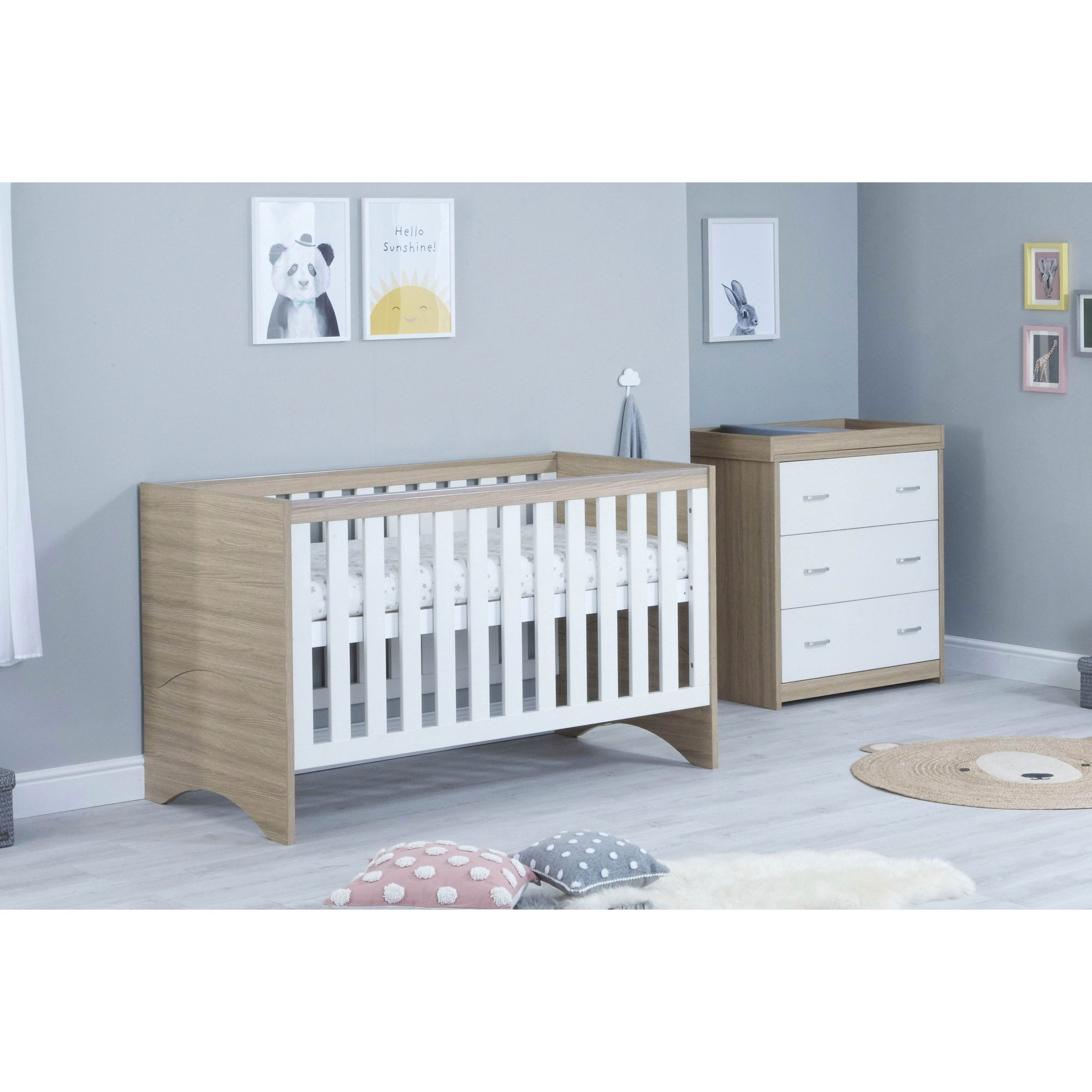 Image of 2 Piece Veni White Oak Cot Bed and Chest Room Set