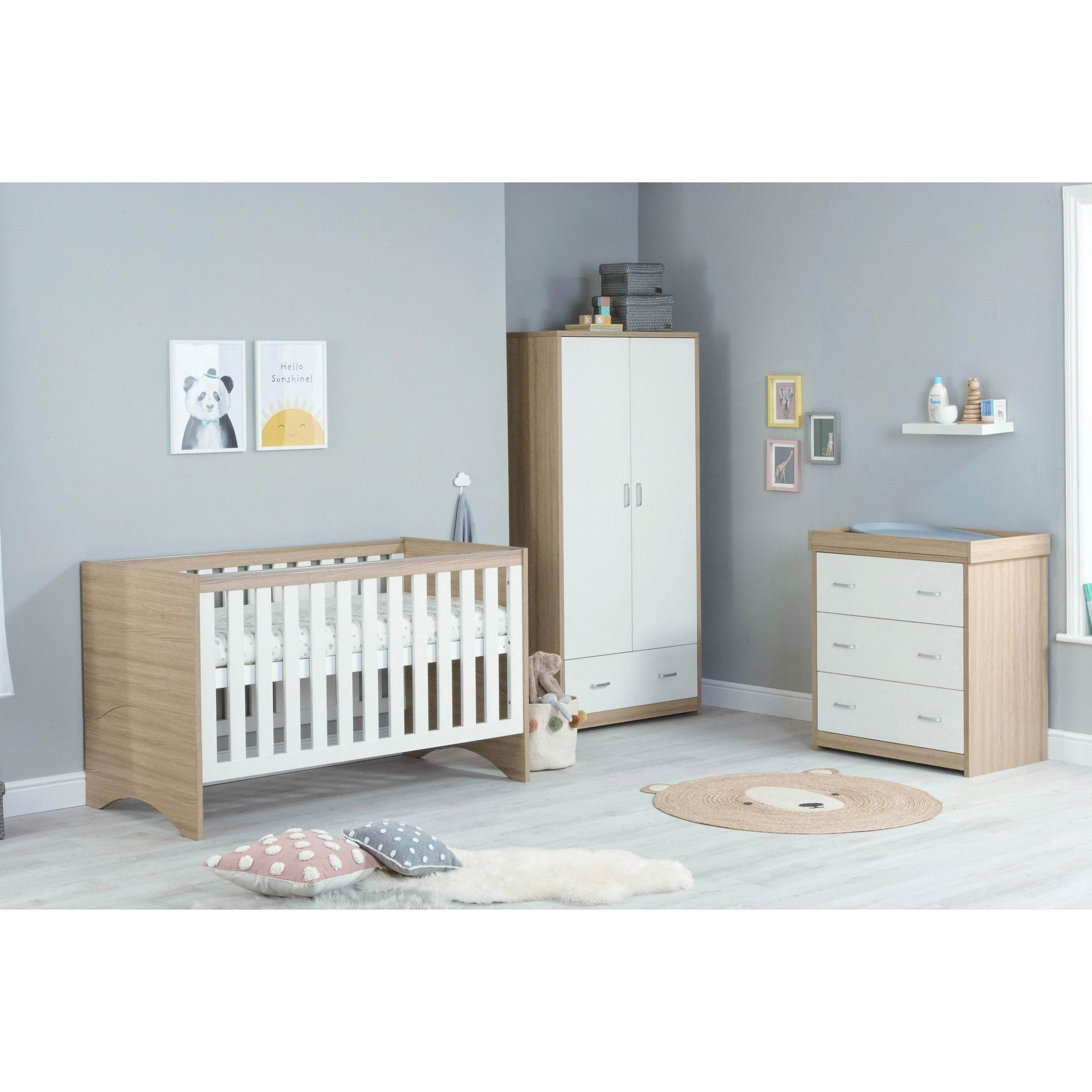 Image of 3 Piece Veni White Oak Cot Bed Chest and Wardrobe Room Set