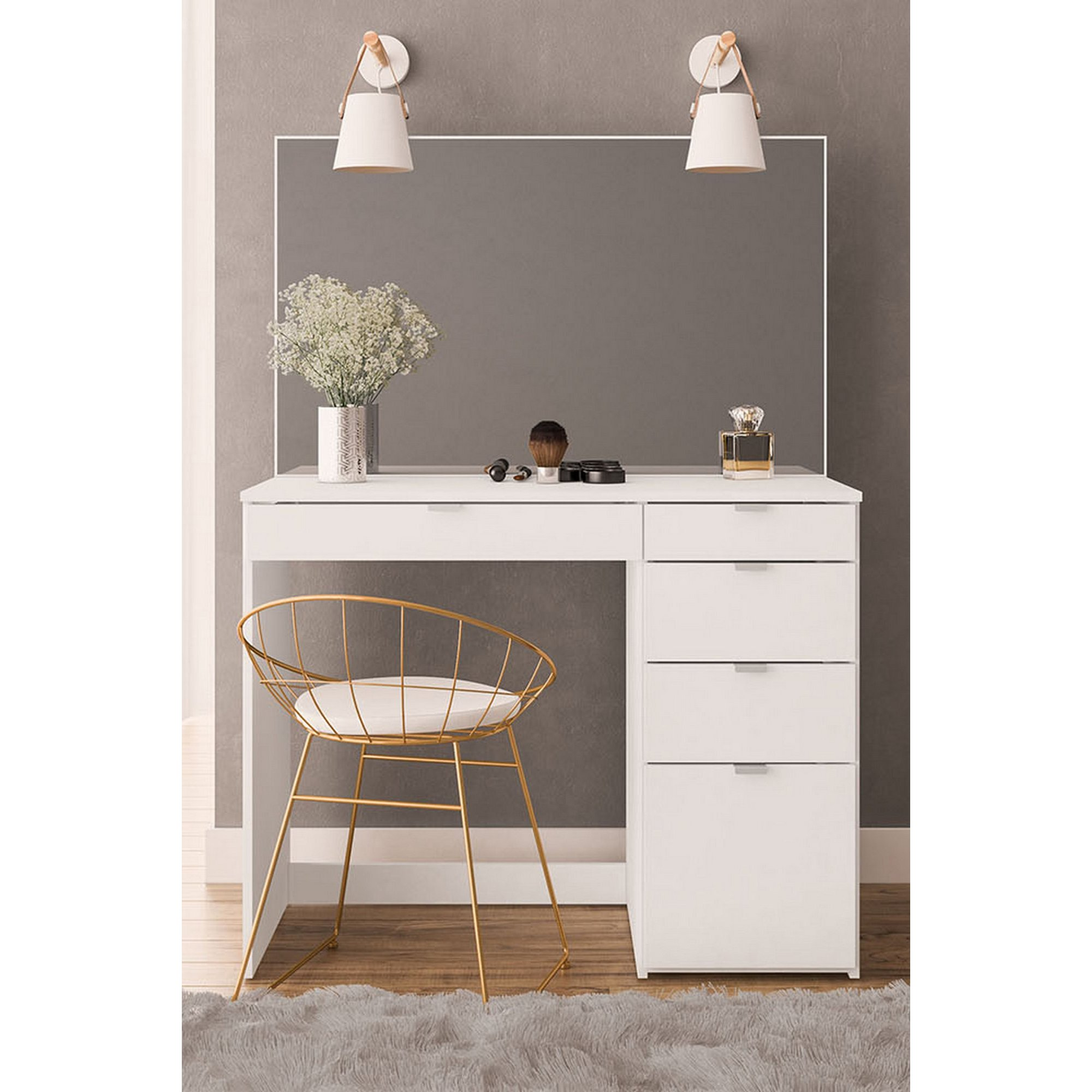 Image of Ava 5 Drawer Dressing Table and Mirror