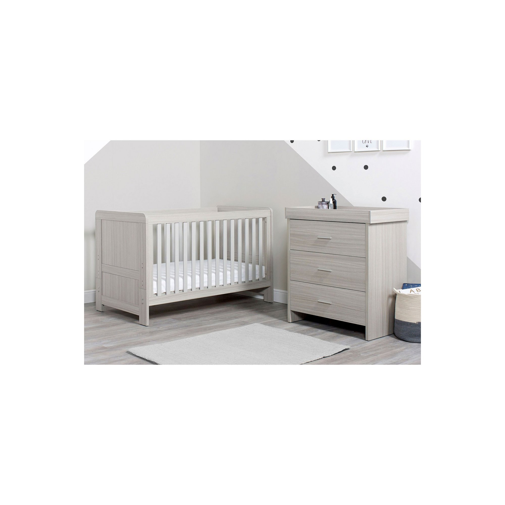 Image of Ickle Bubba Ash Grey Pembrey Cot Bed and Changing Unit