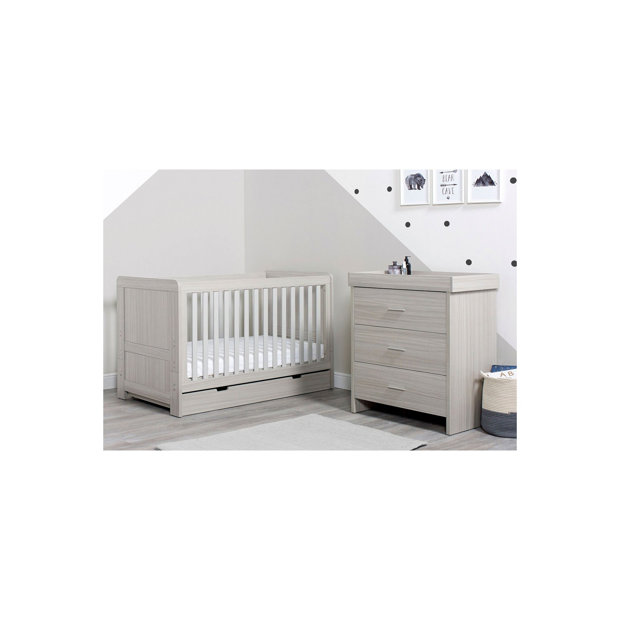 Image of Ickle Bubba Ash Grey Pembrey Cot Bed&#44 Under Drawer and Changin...