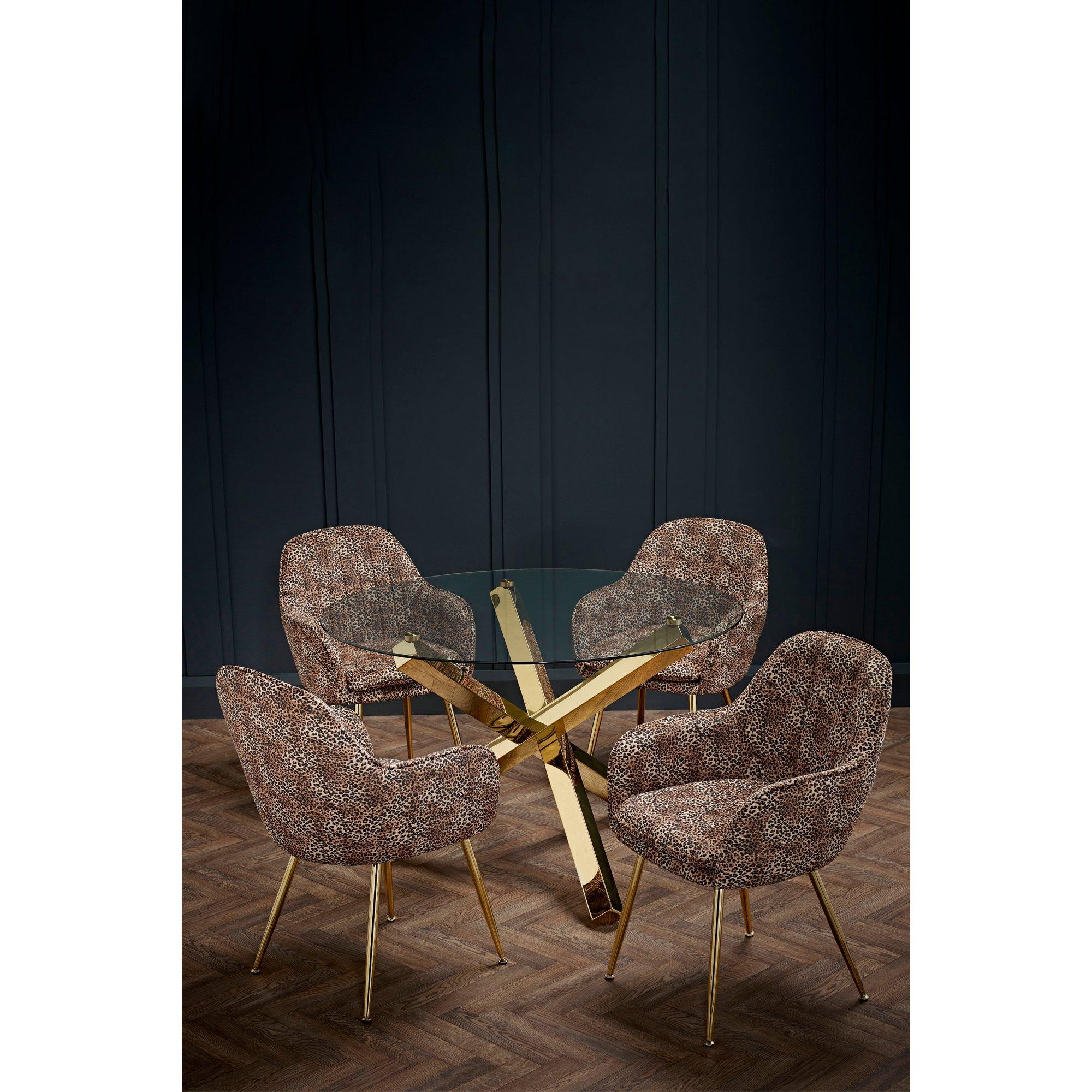 Image of Capri Dining Set with 4 Lara Leopard Print Chairs