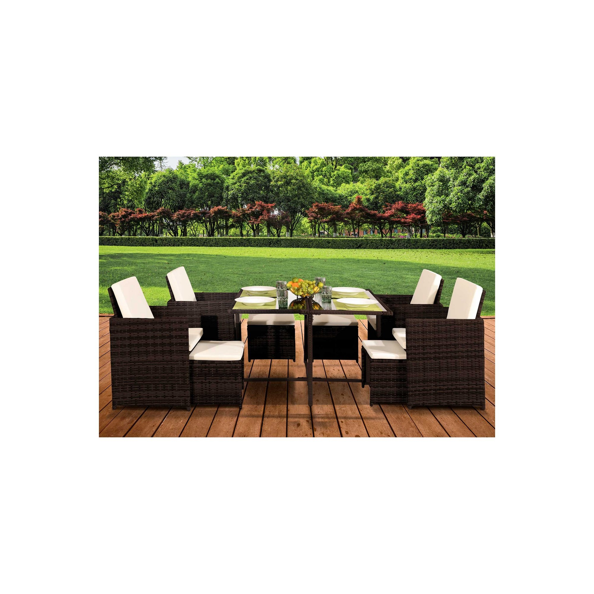 Image of 9-Piece Rattan Cube Dinning Set with Cover