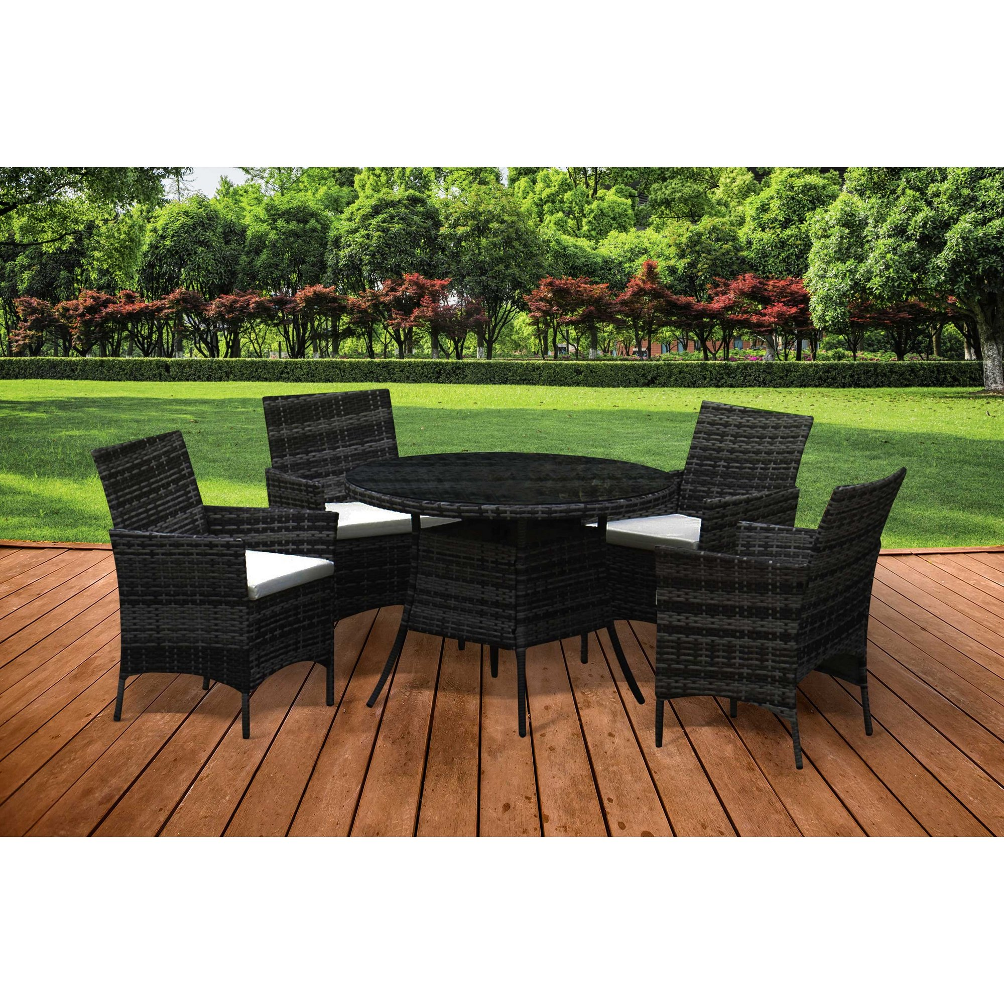 Image of 4 Chair Rattan Garden Dining Set with Round Table
