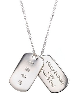 Mens Personalised Two Piece Dog Tag Pendant