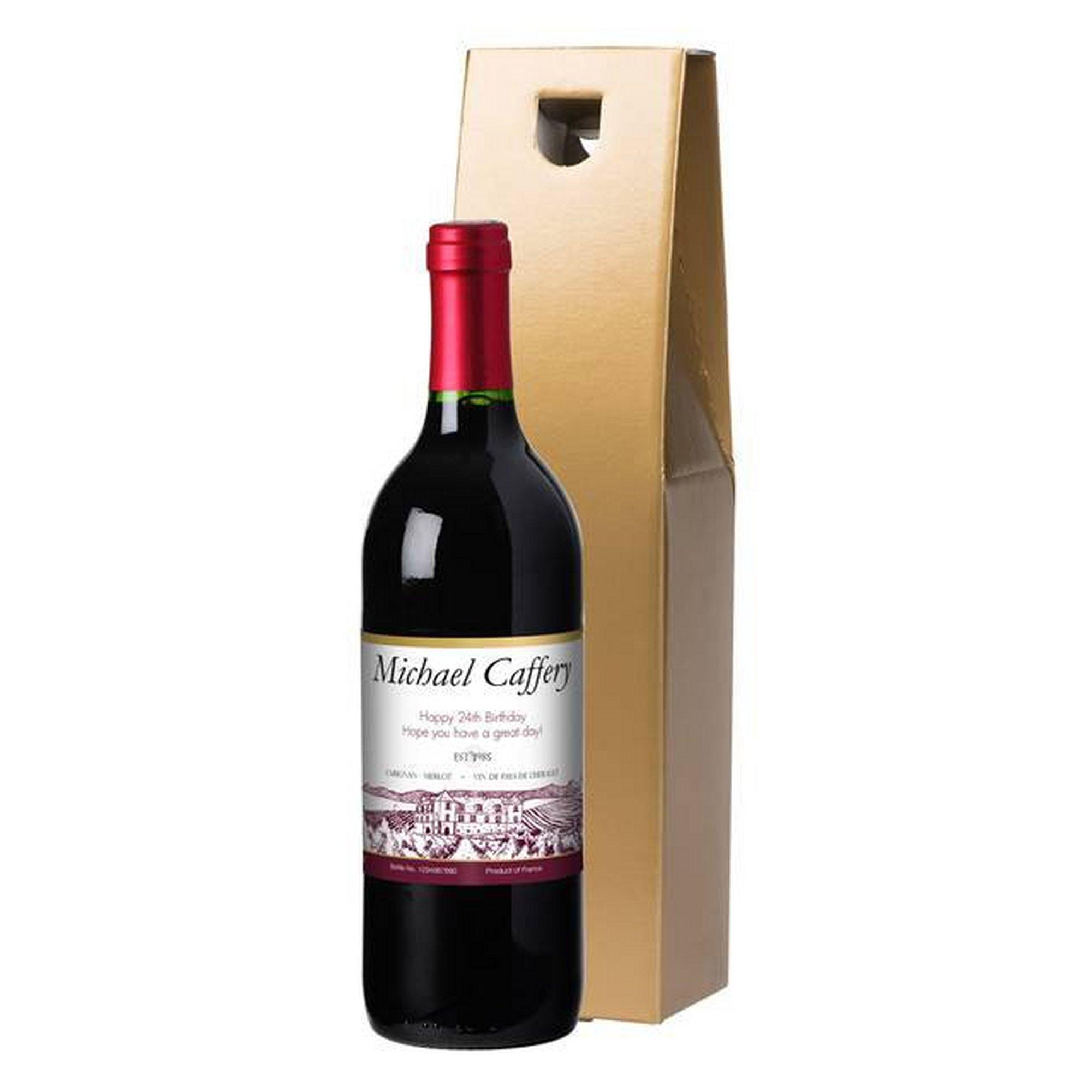 Image of Personalised Bottle of Vineyard Label Red Wine