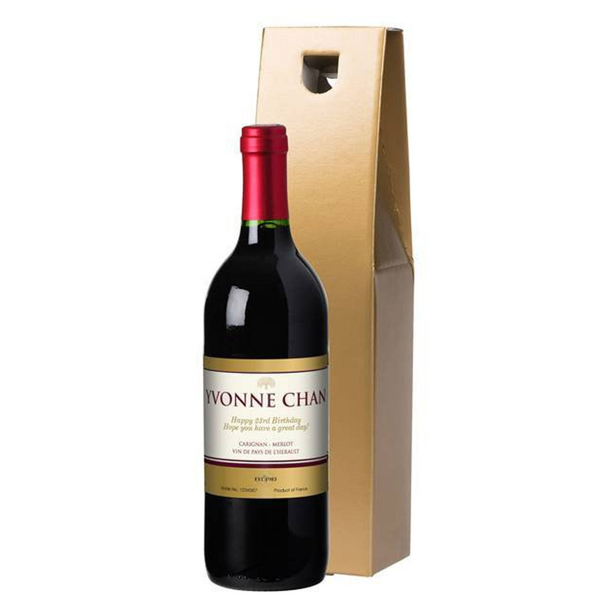 Image of Personalised Bottle of Red Wine with a Gold Label