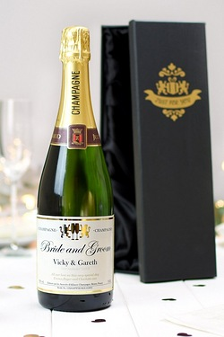 Personalised Champagne, Authentic Wedding Label - Gift Boxed