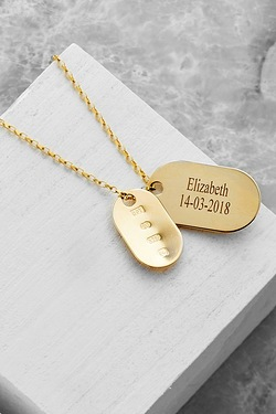 9ct Yellow Gold Two-Piece Personalised Gents Gold Dog Tags