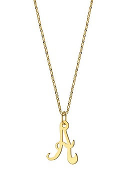"Personalised 9ct Yellow Gold Initial On 18"" Chain"