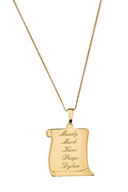 "Personalised -  9CT Yellow Gold Family Pendant On 18"" Curb Chain"