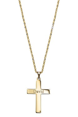 "Personalised - Gents 9CT Gold Cross On 20"" Belcher"