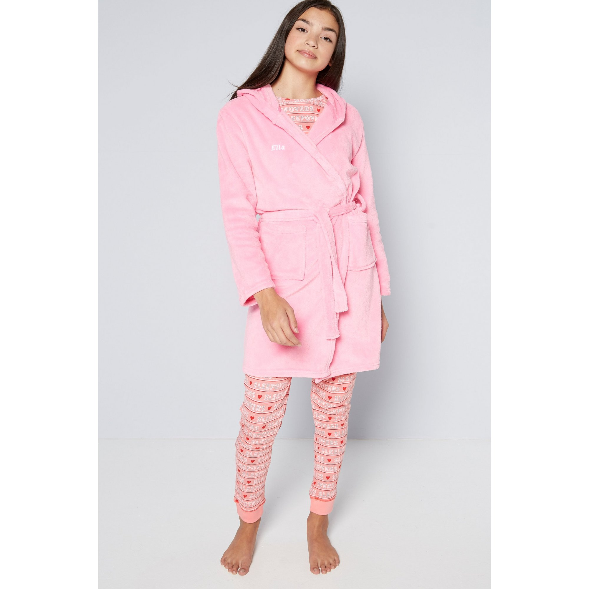 Image of Embroidered Personalised Girls Bright Pink Supersoft Robe