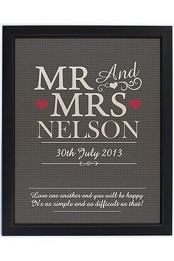 Personalised Mr and Mrs Print with Black Frame